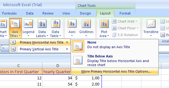 Point to Primary Horizontal Axis Title, and then click More Primary Horizontal Axis Title Options.