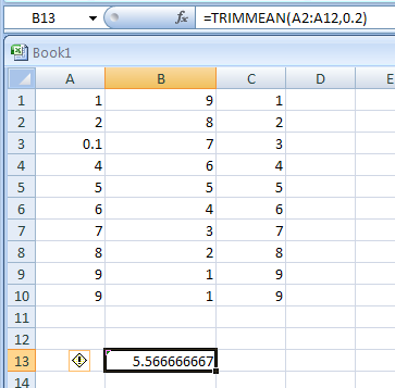 TRIMMEAN(array,percent) returns the mean of the interior of a data set