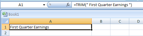 TRIM(text) removes spaces from text