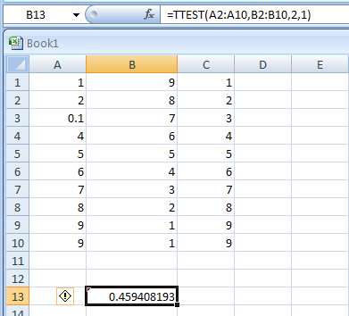 TTEST(array1,array2,tails,type) returns the probability associated with a Student's t-test