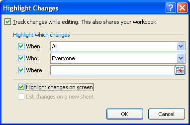 Select or clear the Highlight changes on screen or List changes on a new sheet check boxes.