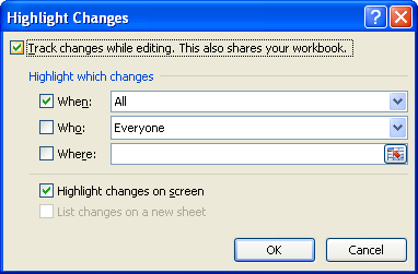 Select the Track changes while editing check box.