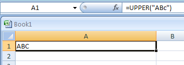UPPER(text) converts text to uppercase