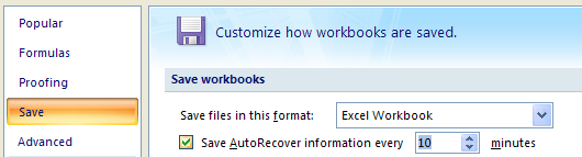 Click Save. Select the Save AutoRecover information every x minutes. Enter the number of minutes.