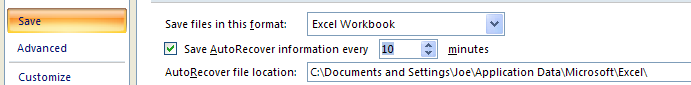 Specify the complete path to the folder location where you want to save your AutoRecover workbook file.