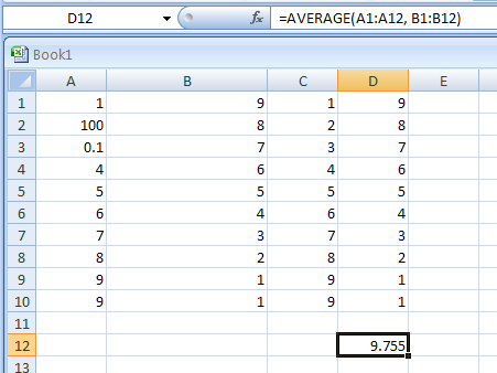 Use AVERAGE with more than one range: =AVERAGE(A1:A12, B1:B12)