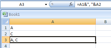 Use a comma and a space between the two entries when joining Two or More Cells