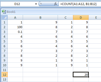 Use COUNT with more than one range: =COUNT(A1:A12, B1:B12)