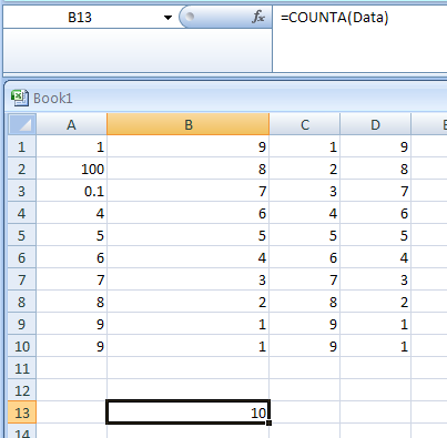 Use the COUNTA function to return the number of nonblank cells in a range named Data