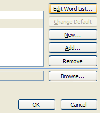Click Edit Word List to add, delete, or edit words.