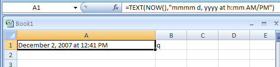 Uses the NOW and TEXT function to format the date and time.