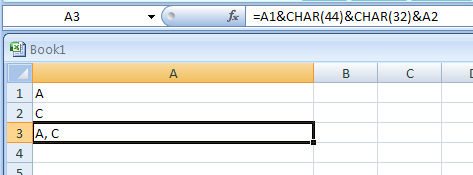 Using the CHAR function to represent a comma (44) and a space (32) between the two entries
