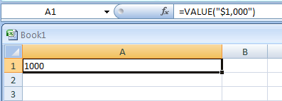 VALUE(text) converts a text argument to a number