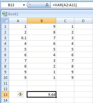 VAR(number1,number2,...) estimates variance based on a sample