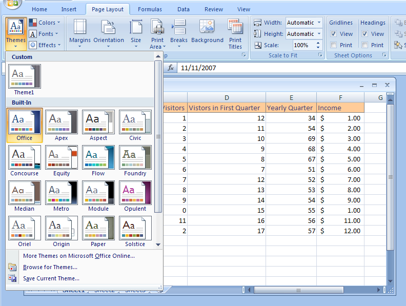 view and apply a theme theme format style microsoft office