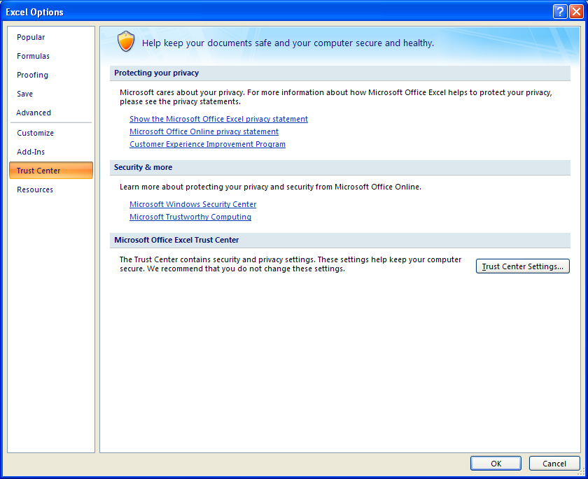 View the Trust Center : Trust Center « Security « Microsoft Office ...