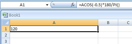 =ACOS(-0.5)*180/PI()