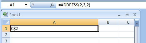 =ADDRESS(2,3,2) return absolute row; relative column