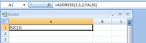 Input the formula: =ADDRESS(2,3,2,FALSE)