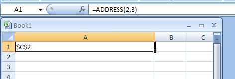 Input the formula: =ADDRESS(2,3)