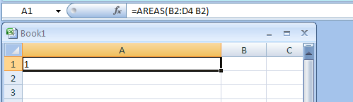=AREAS(B2:D4 B2) returns the number of areas in the range