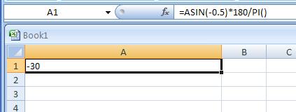 =ASIN(-0.5)*180/PI()