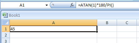 =ATAN(1)*180/PI()
