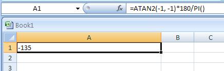 =ATAN2(-1, -1)*180/PI()