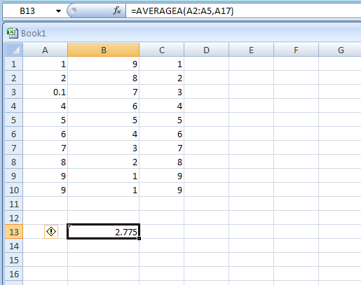 =AVERAGEA(A2:A5,A17) returns Average of the numbers above, and the empty cell
