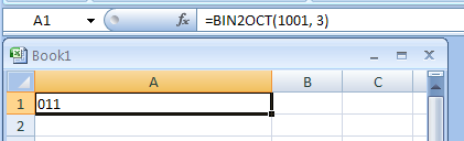 =BIN2OCT(1001, 3) converts binary 1001 to octal with 3 characters