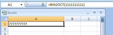 =BIN2OCT(1111111111) converts binary 1111111111 to octal