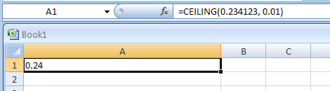 Input the formula: =CEILING(0.234123, 0.01)