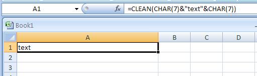 =CLEAN(CHAR(7)&