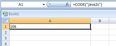 Input the formula: =CODE