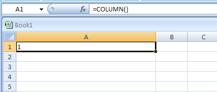 =COLUMN() returns column in which the formula appears