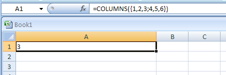 =COLUMNS({1,2,3;4,5,6}) returns the number of columns in the array constant