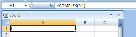 =COMPLEX(0,1) returns Complex number with 0 and 1 as the real and imaginary coefficients