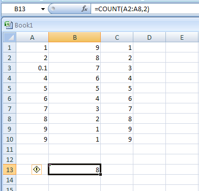 =COUNT(A2:A8,2) counts the number of cells that contain numbers in the list, and the value 2