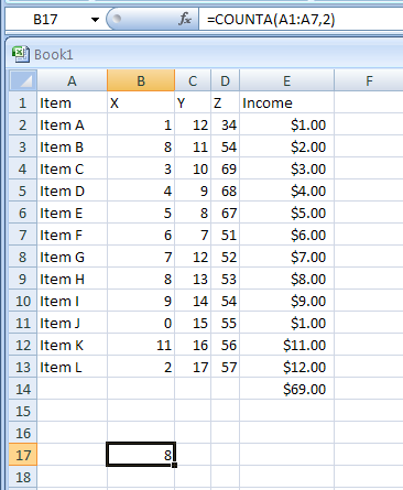 =COUNTA(A1:A7,2) counts the number of nonblank cells in the list above and the value 2