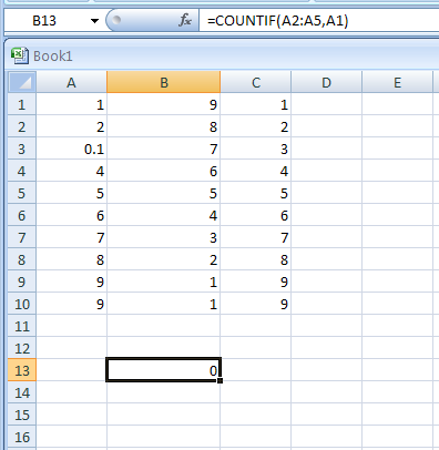 =COUNTIF(A2:A5,A1) return the number of cells with condition in A1