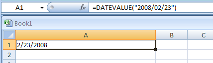 Input the formula: =DATEVALUE