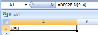 =DEC2BIN(9, 4) converts decimal 9 to binary with 4 characters