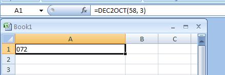 =DEC2OCT(58, 3) converts decimal 58 to octal