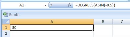 =DEGREES(ASIN(-0.5))