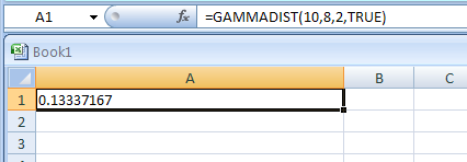 =GAMMADIST(10,8,2,TRUE) returns the cumulative gamma distribution