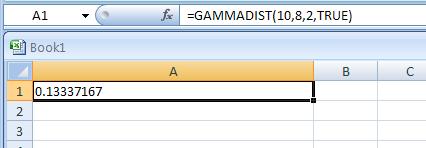 =GAMMADIST(10,8,2,TRUE) returns the cumulative gamma distribution