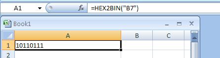 =HEX2BIN(