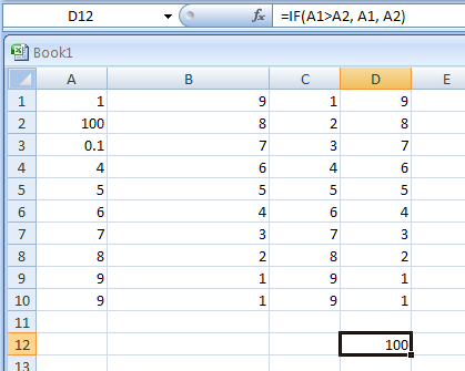 =IF(A1>A2, A1, A2): if the value in A1 is greater than the value in A2, then the value in A1 is returned. If not, then the value in A2 is returned.