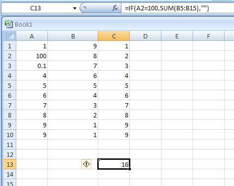 =IF(A2=100,SUM(B5:B15),