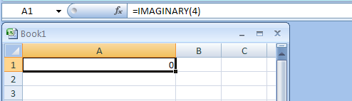 =IMAGINARY(4) returns the Imaginary coefficient of 4